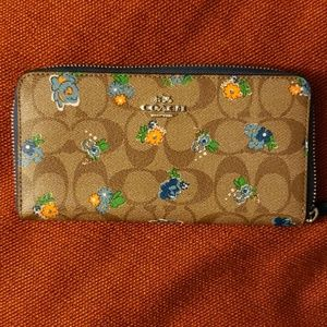 Coach floral blue trim wallet